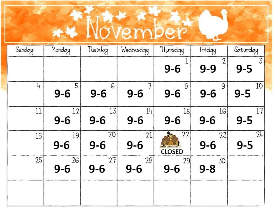 2018 November calendar