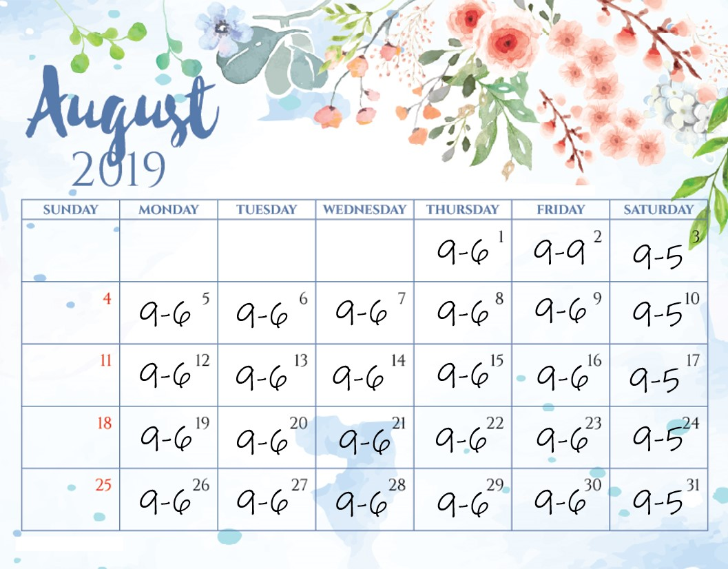 August Calendar 2019 Finished