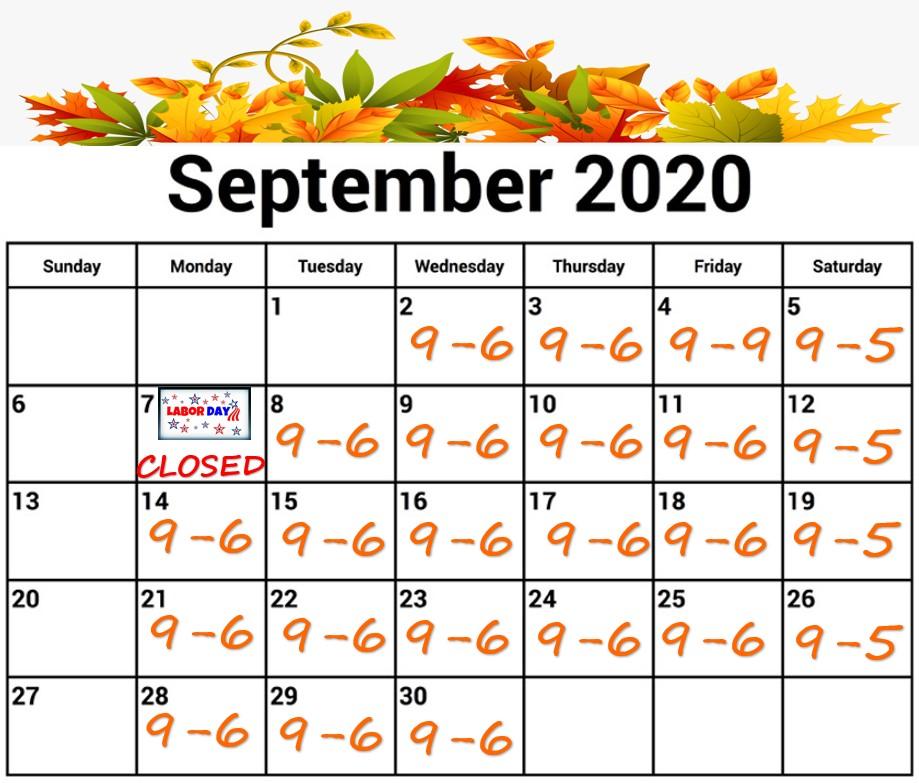September 2020 Calendar Snip